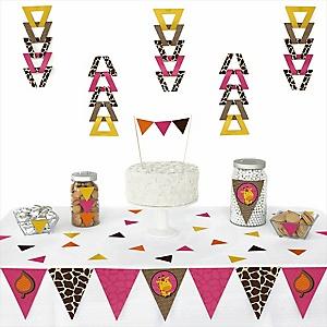 Giraffe Girl - Baby Shower Triangle Decoration Kits - 72 Count