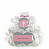 Little Miracle Girl Pink & Gray Cross - Personalized Baby Shower Square Diaper Cakes - 2 Tier