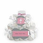 Little Miracle Girl Pink & Gray Cross - 2 Tier Personalized Square Baby Shower Diaper Cake