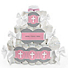 Little Miracle Girl Pink & Brown Cross - Personalized Baby Shower Square Diaper Cakes - 3 Tier