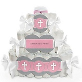 Little Miracle Girl Pink & Gray Cross - 3 Tier Personalized Square Baby Shower Diaper Cake