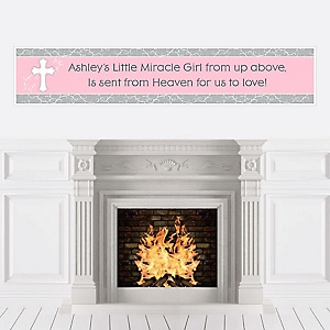 Little Miracle Girl Pink & Gray Cross - Personalized Baby Shower Banners