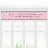 Little Miracle Girl Pink & Gray Cross - Personalized Baby Shower Banner