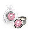 Little Miracle Girl Pink & Gray Cross  - Personalized Baby Shower Candle Tin Favors