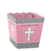 Little Miracle Girl Pink & Gray Cross - Personalized Baby Shower Candy Boxes