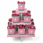 Little Miracle Girl Pink & Gray Cross - Baby Shower Candy Stand & 13 Fill Your Own Candy Boxes