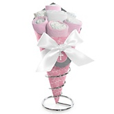 Little Miracle Girl Pink & Gray Cross - Baby Shower Diaper Bouquets
