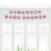Little Miracle Girl Pink & Gray Cross - Personalized Baby Shower Garland Banner