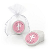 Little Miracle Girl Pink & Gray Cross - Personalized Baby Shower Lip Balm Favors