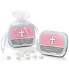 Little Miracle Girl Pink & Gray Cross - Personalized Baby Shower Mint Tin Favors