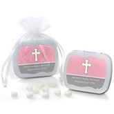 Little Miracle Girl Pink & Gray Cross - Mint Tin Personalized Baby Shower Favors