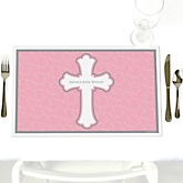 Little Miracle Girl Pink & Gray Cross - Personalized Baby Shower Placemats