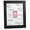 Little Miracle Girl Pink & Gray Cross - Personalized Baby Shower Signature Mat Gift