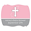Little Miracle Girl Pink & Brown Cross - Personalized Baby Shower Squiggle Stickers - 16 ct