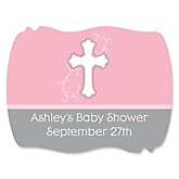 Little Miracle Girl Pink & Gray Cross - Personalized Baby Shower Squiggle Sticker Labels - 16 Count