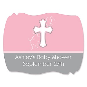 Little Miracle Girl Pink - Gray Cross - Personalized Baby Shower Squiggle Stickers - 16 ct