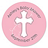 Little Miracle Girl Pink & Brown Cross - Personalized Baby Shower Sticker Labels - 24 ct