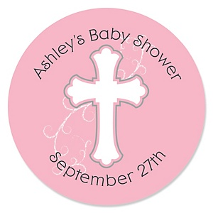 Little Miracle Girl Pink & Gray Cross - Personalized Baby Shower Round Sticker Labels - 24 Count