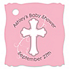 Little Miracle Girl Pink & Brown Cross - Personalized Baby Shower Tags - 20 ct