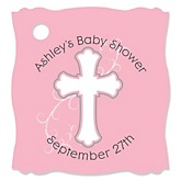 Little Miracle Girl Pink & Gray Cross - Personalized Baby Shower Tags - 20 Count