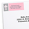 Little Miracle Girl Pink & Brown Cross - Personalized Baptism Return Address Labels - 30 ct