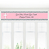 Little Miracle Girl Pink - Gray Cross - Personalized Baptism Banners