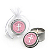 Little Miracle Girl Pink & Brown Cross - Personalized Baptism Candle Tin Favors