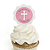 Little Miracle Girl Pink - Gray Cross - Personalized Baptism Cupcake Picks and Sticker Kit - 12 ct