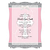 Little Miracle Girl Pink & Brown Cross - Personalized Baptism Vellum Overlay Invitations