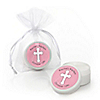 Little Miracle Girl Pink & Gray Cross - Personalized Baptism Lip Balm Favors