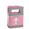 Little Miracle Girl Pink & Gray Cross - Personalized Baptism Mini Favor Boxes