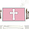 Little Miracle Girl Pink & Gray Cross - Personalized Baptism Placemats