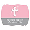 Little Miracle Girl Pink & Brown Cross - Personalized Baptism Squiggle Stickers - 16 ct