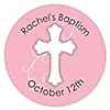 Little Miracle Girl Pink & Brown Cross - Personalized Baptism Sticker Labels - 24 ct