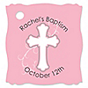 Little Miracle Girl Pink & Gray Cross - Personalized Baptism Tags - 20 ct