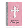 Little Miracle Girl Pink & Gray Cross - Personalized Baptism Thank You Cards