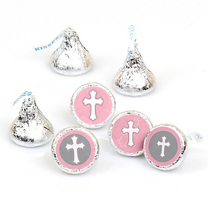 Little Miracle Girl Pink & Gray Cross - Party Favors Round Baby Shower Candy Labels - Fits Hershey's Kisses - 108 Count