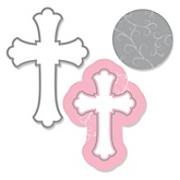 Little Miracle Girl Pink & Gray Cross - Shaped Party Paper Cut-Outs - 24 ct