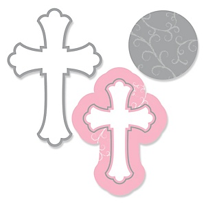 Little Miracle Girl Pink & Gray Cross - Shaped Baby Shower Paper Cut-Outs - 24 ct