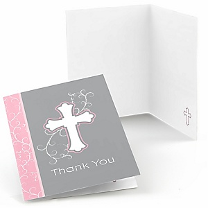 Little Miracle Girl Pink & Gray Cross - Baby Shower Thank You Cards - Set of  8