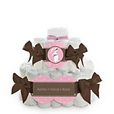 Mommy Silhouette It's A Girl - 2 Tier Personalized Square Baby Shower Diaper Cake