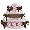 Mommy Silhouette It's A Girl - Personalized Baby Shower Square Diaper Cakes - 3 Tier