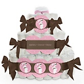 Mommy Silhouette It's A Girl - 3 Tier Personalized Square Baby Shower Diaper Cake