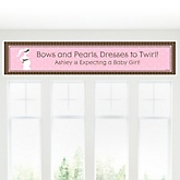 Mommy Silhouette - It's A Girl - Personalized Baby Shower Banner