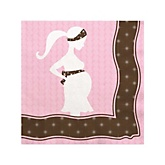 Mommy Silhouette It's A Girl - Baby Shower Beverage Napkins - 16 Pack