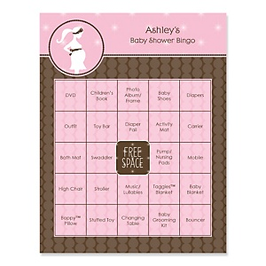 Mommy Silhouette It's A Girl - Bingo Personalized Baby Shower Games - 16 Count