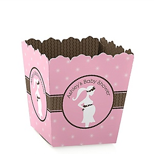 Mommy Silhouette It's A Girl - Personalized Baby Shower Candy Boxes