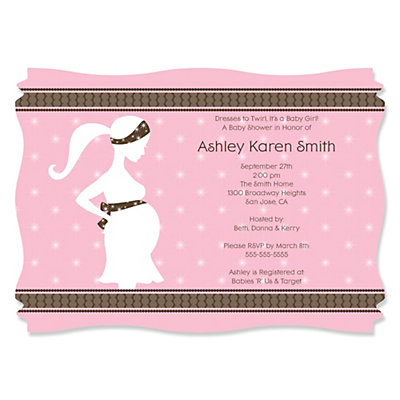 mommy silhouette it's a girl - personalized baby shower, Baby shower invitations