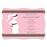 Mommy Silhouette It's A Girl - Personalized Baby Shower Invitations