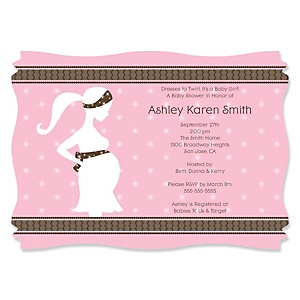 Mommy-To-Be Silhouette – It's A Girl - Personalized Baby Shower Invitations